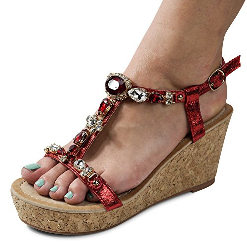 Damen Sandalen Keilabsatz Sandaletten Glitzer High Heels Wedge ST921 Rot