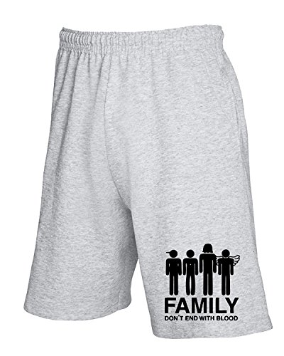 Cotton Island - Pantalone Tuta Corto OLDENG00258 supernatural family dont end with blood s Grigio