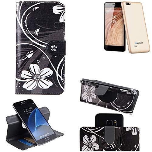 K-S-Trade Schutzhülle für Blaupunkt SL 04 Hülle 360° Wallet Case Schutz Hülle ''Flowers'' Smartphone Flip Cover Flipstyle Tasche Handyhülle schwarz-weiß 1x