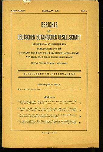 Die Therophyten-Vegetation an nordrhein-west-fälischen Talsperren im Trockenjahr 1959, in: BERICHTE DER DEUTSCHEN BOTANISCHEN GESELLSCHAFT, Heft 1 / 1960.
