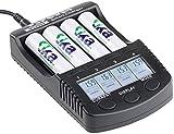 tka Köbele Akkutechnik Akku-Ladegerät AA: Hochleistungs-Schnell-Ladegerät für 4 Akkus, LCD-Display, USB-Ladeport (Akkuladegerät mit LCD-Display)