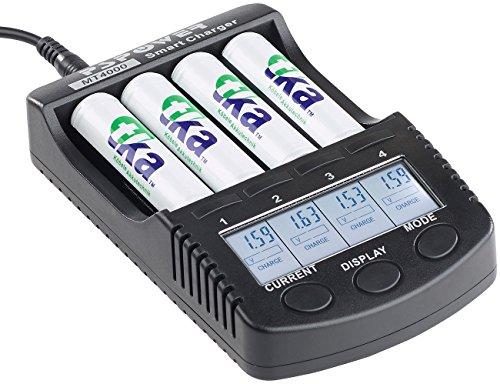 tka Köbele Akkutechnik Schnellladegerät: Hochleistungs-Schnell-Ladegerät für 4 Akkus, LCD-Display, USB-Ladeport (Akkuladegerät AA)