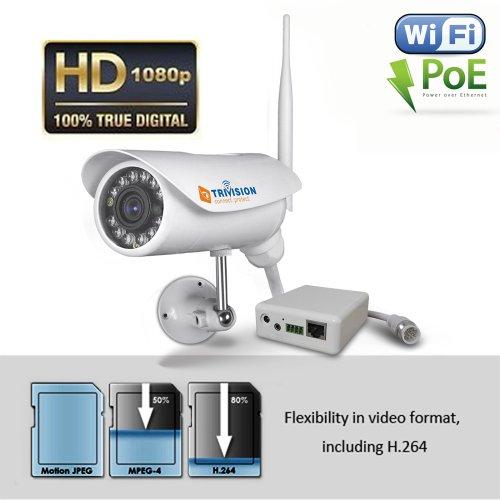 TriVision Outdoor Wasserdicht HD 1080P IR D/N Camera IP-Netzwerk-CCTV-Kamera H.264 WLan Wireless N Security Cam Zwei-Wege-Audio IR Cut Nachtsicht 15m