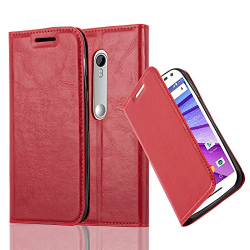 Cadorabo Hülle für Motorola Moto G3 - Hülle in Apfel Rot – Handyhülle mit Magnetverschluss, Standfunktion und Kartenfach - Case Cover Schutzhülle Etui Tasche Book Klapp Style