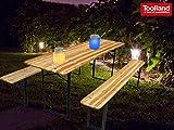 Toolland Gartenset: Klappbare Bierzeltgarnitur 3-teilig aus Holz mit 2 Solar Dekoleuchten
