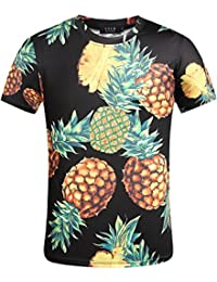 SSLR T-Shirts Casual Manche Courte Homme Regular Fit Tees Hawaiien Ananas
