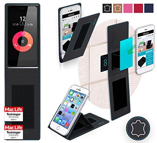 reboon Hülle für Obi Worldphone SF1 Tasche Cover Case Bumper | Schwarz Leder | Testsieger