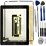 Touch Screen Digitizer iPad 2 Black Kit Pre-assembled Glass + home button + Home Flex and attached contour (Model A1397, A1396, A1395, A1376)