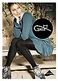 Gatta Loretta 111 - 50den - blickdicht gemusterte schwarze Strumpfhose mit trendigem Nahtmotiv Reißverschluß Design - Größe L - Nero