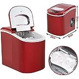 Yahee Eiswürfelmaschine Eiswürfelbereiter Icemaker 12 kg Eiswürfel pro Tag, 2 Eiswürfelgrößen wählbar, 150 Watt, in 3 Farben (Rot)