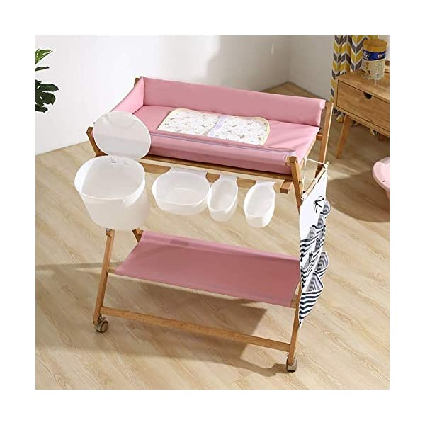 Baby Changing Table Foldable On Wheels, Heavy Duty Wooden Diaper Station Nursery Organizer for Infant/Newborn GUYUE Beech Material: Birch wood hard, good load bearing performance, no deformation, strong pressure resistance, clear texture. High-grade PU Leather: It has excellent wear resistance, excellent breathability, aging resistance, soft and comfortable. Size: As shown, 80x56x(80-85-90-95)cm, Bearing weight 150kg. 8