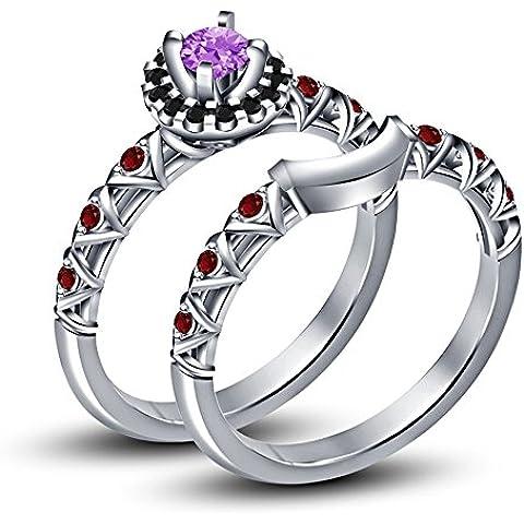 Vorra Fashion taglio rotondo Multi pietra argento 925placcato platino bianco set di anelli da fidanzamento