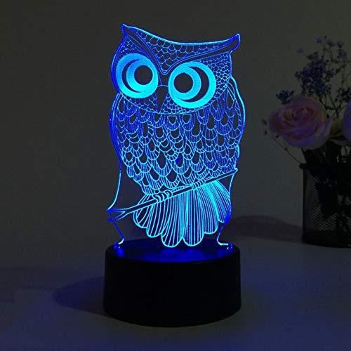 Nettes Eulen-Licht 3D Führte Tiernachtlicht Rgb-Veränderbare Lampen-Kind-Kind-Baby-Weiche Licht-Schlafzimmer-Dekoration