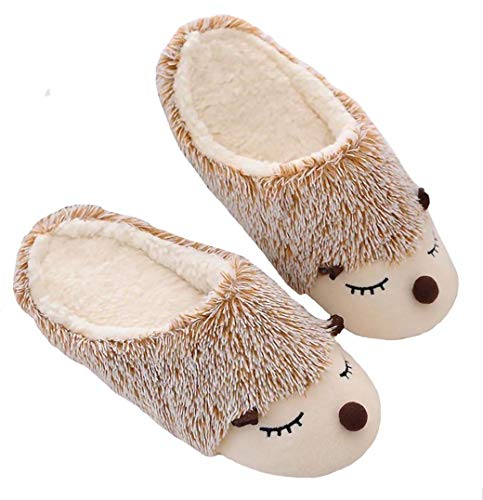 New Cute Animal Hedgehog Slippers for Women Fuzzy Hedgehog Plush Home Shoes Waterproof Sole Indoor Slippers