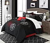 Chic Home 12 Piece Cheila Oversized and Overfilled Heavy Embroidery Contemporary Queen Comforter set nero con fogli bianchi inclusi