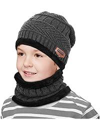 Hiver Enfant doublure polaire Épaissir chaud tricoté Écharpe et Chapeau Set  Slouchy chaud sports de plein cf139c85551