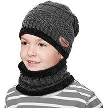 cf4236367b9dc Chapka Enfant Fille Garçon Bonnet Chaud et Epais Pour Enfant Bonnet Ski  Fille Garçon Cagoule Polaire