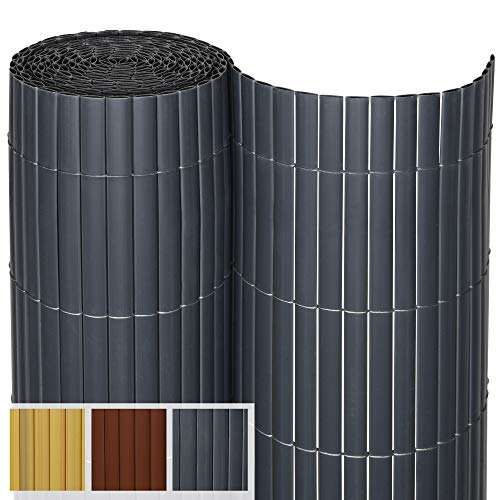 Sol Royal PVC Sichtschutz SolVision P14 - PVC Sichtschutzmatte Balkon & Terrasse 120 x 500 cm Anthrazit Sichtschutzzaun Balkon Sichtschutz