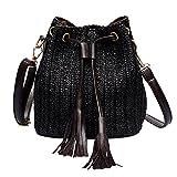 YULAND Damen Ledertasche Kleine, Umhängetaschen Handtaschen Vintage Frauen Weben Quaste Umhängetasche Messenger Bag Umhängetasche Strandtasche (Schwarz)