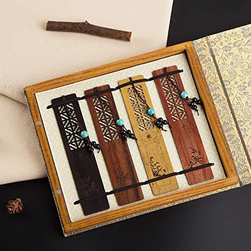 Wangyi Segnalibri Segnalibro in legno naturale stile vintage etnico Regali 4 pezzi, foto
