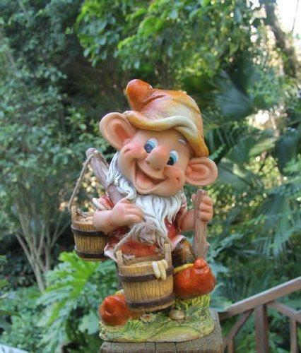 Design 2 Zwerg 91040-2 mit 2 Eimer 32 cm Hoch Deko Garten Gartenzwerg Figuren Dekoration