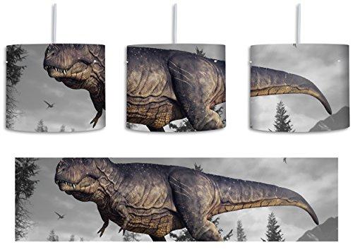 T-Rex Dinosaurier in der Natur B&W Detail inkl. Lampenfassung E27, Lampe mit Motivdruck, tolle Deckenlampe, Hängelampe, Pendelleuchte - Durchmesser 30cm - Dekoration mit Licht ideal für Wohnzimmer, Kinderzimmer, Schlafzimmer (Tropischen Wald Hintergrund)