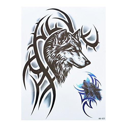 Hombres Tattoo Lobo Tribal Negro azul brazo tatuaje