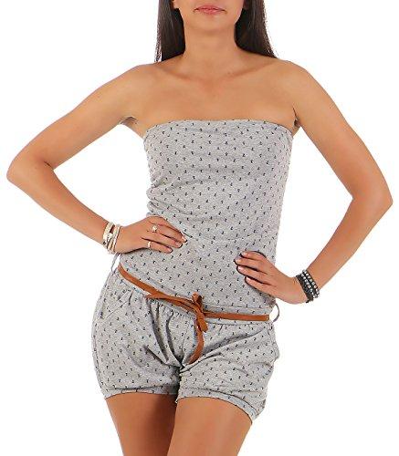 Malito Damen Einteiler mit Anker Print   kurzer Overall schulterfrei   Jumpsuit mit Gürtel - Romper 8963 (hellgrau) Anker Kleid