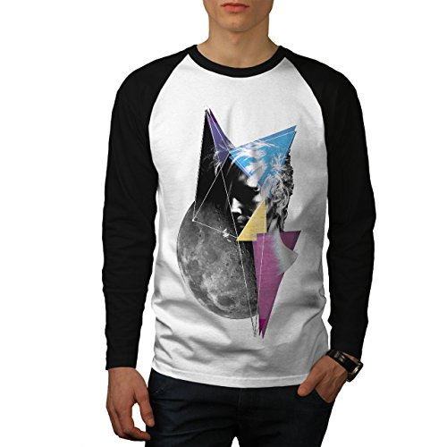 wellcoda Kunst Kosmos Mond Raum Männer L Baseball LS T-Shirt