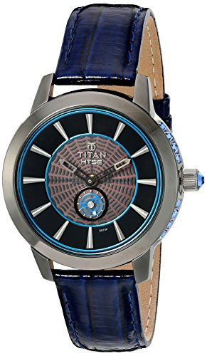 Titan Women's 'HTSE Self Energizing' Quartz Stainless Steel and Leather Watch, Color Blue (Model: 2523QL01)