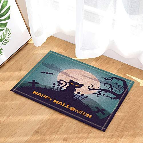 JHTRSJYTJ Halloween dekorative Katze Kreuz Zaun Baum und Fliegende Fledermaus Vollmond Anti-Rutsch-Türmatte Bad Matte 15.7x23.6in -