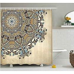 HANYULIAN por Encargo Mandala Cortina de Ducha étnica India Flor círculo en Adornos de Encaje Tradicional Boho diseño Tela baño decoración Set 120x180cm