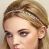 QueenMee Haarband mit Blumendesign und Strasssteinen, silber- und goldfarben, Haar-Accessoire für Brautjungfern, Hochzeitshaarband, Haarschmuck, Haarreif, Haarkette