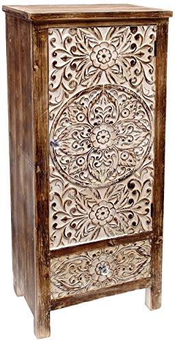 Mueble Puerta y Cajón, Madera, Marrón y Beige, 47x30x110 cm