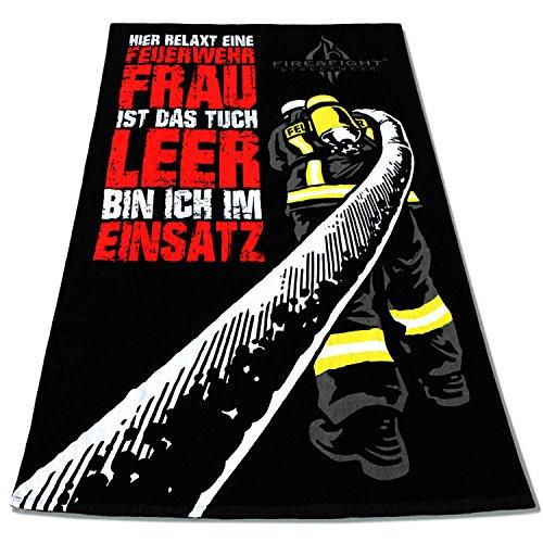 HIER RELAXT EINE FEUERWEHRFRAU Oversize Frottee Feuerwehr Sauna Strand und Badetuch (Leidenschaft-bekleidung Echte)