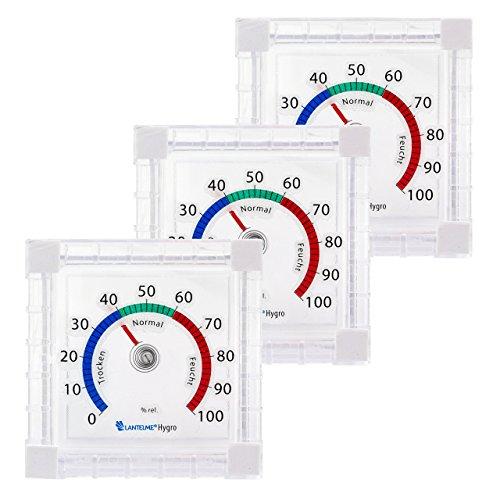 Lantelme 6707 Fenster Hygrometer 3 Stück Set - Fensterhygrometer zum ankleben Analog leicht fluoreszierend