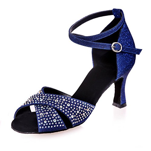 Elegant high shoes Frauen Tanzschuhe Latin/Ballsaal Satin Ausgestellte Ferse 7.5cm Absatzhöhe Braun, Blue, 37