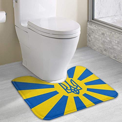 Vidmkeo Imperial Ukrainian Flag Contour Bath Rug, U-Shaped Polyester Toilet Floor Mat Non Slip Bathroom Shower Carpet Imperial Cape