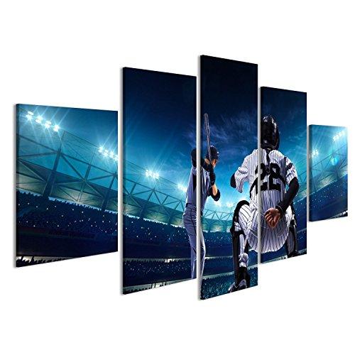 Cuadro Cuadros jugadores de béisbol profesional en la arena principal en la noche Impresión sobre lienzo - Formato Grande - Cuadros modernos
