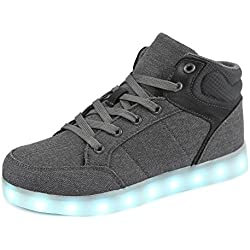 Dannto led Zapatillas Luces Niños Deportivos Shoes Recargables Luz Zapatos Flashing High Top Zapatillas con USB(Gris,39)