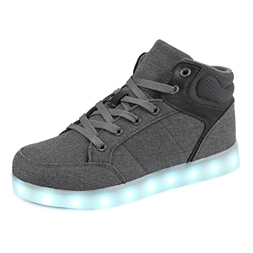 Dannto led Zapatillas Luces Niños Deportivos Shoes Recargables Luz Zapatos Flashing High Top Zapatillas con USB(Gris,36)