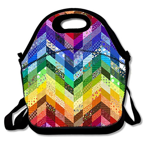 flys Insulated Neoprene Lunch Bag - Removable Shoulder Strap - Reusable Thermal Thick Lunch Tote/Lunch Box/Cooler Bag for Women,Teens,Girls,Kids,Baby,Adults, Rainbow Chevrons Colorful,2T