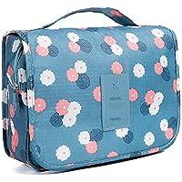 beito-toiletry borsa multifunzione cosmetico bag sacchetto impermeabile viaggio portatile di trucco Hanging Organizer per donne e ragazze, fiori blu