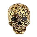 OULII Cráneo broche Pin Favor fiesta decoración de Halloween noche de fiesta traje broche (oro antiguo)