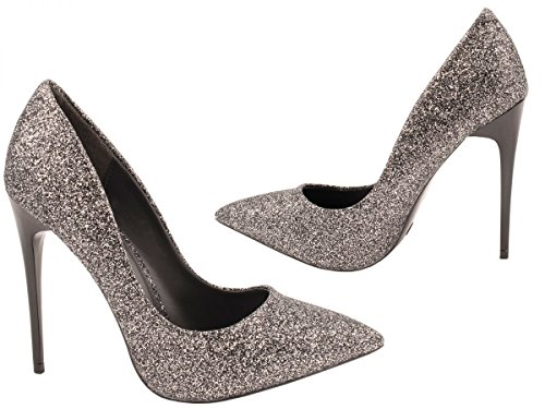 Elara Damen Pumps   Trendige Spitze Stilettos   High Heels Schwarz Noir