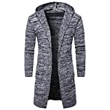 Sunnywill Herren Sweater Jacke Cardigan Long Graben Coat Jacket (M, Grau)