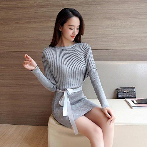 HY-Sweater Kleider koreanische Version der langen Abschnitt des Pakets Gesäß Kopf Stricken Primer Shirt lose Frauen Fledermaus Ärmel Wort Kragen, grau, alle Code