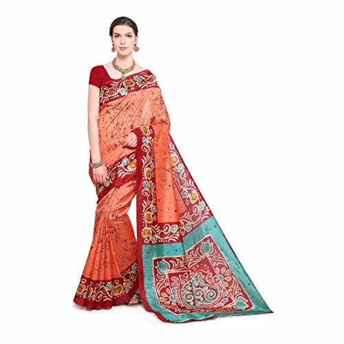 Printed, Paisley Bhagalpuri Art Silk Saree (Orange, Red) Paisley Printed Silk Dress