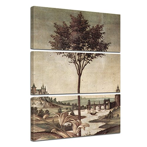 Wandbild Sandro Botticelli Landschaft Detail Verkündigung - 90x150cm mehrteilig hochkant - Alte Meister Berühmte Gemälde Leinwandbild Kunstdruck Bild auf Leinwand