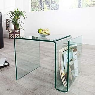 ambientica Designer Beistelltisch AIR mit Zeitungsständer Clear Safety Glass Wohnzimmertisch